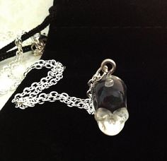 Crystal Skull Necklace. Resin Skull. Silver Chain. Goth Necklace. Spooky. Death Eater. Halloween. Skull Jewelry. Under 20. Unisex. Gothic.