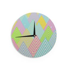 "Angelo Cerantola ""Pastel Mountains"" Multicolor Pastel Wall Clock"