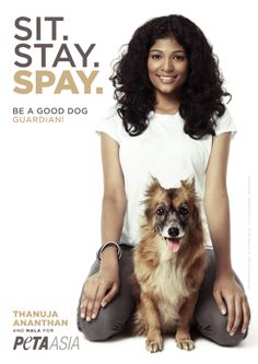 """Although Thanuja Ananthan, the reigning Miss Malaysia World, is certainly on top of the beauty pageant world, this true-life """"angel for animals"""" took time off from her busy schedule to star in a pair of saucy new PETA ads to help promote spaying and neutering. The ads aim to solve the cat and dog overpopulation problem—not just in Malaysia, but all over the world!"""