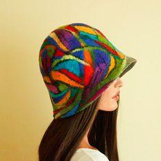 Colorful hat felted Fancy hat Multicolor hat от ZiemskaArt