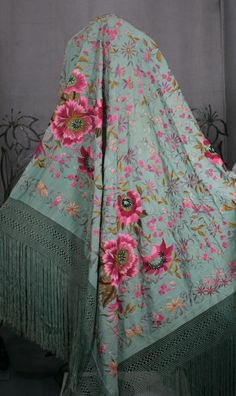 This extraordinary hand embroidered shawl dates from the early C. Heavy celadon silk is completely embroidered,covered with amazing fuschia tones florals and foliage. Wonderful quality and embroidered to be completely reversible. Vintage Outfits, Vintage Fashion, Passementerie, Silk Shawl, Indian Designer Wear, Vintage Accessories, Indian Outfits, Costume, Textiles