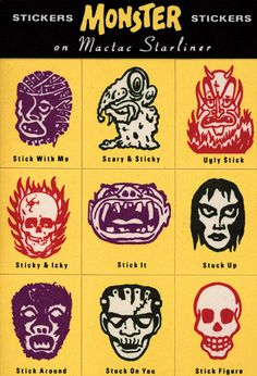 """Vintage Illustrations """"Timely and Timeless"""" – The Design of Charles S. Anderson - Print talks with Charles S. Anderson of CSA Design about his life, work and iconic throwback style. Scary Monsters, Famous Monsters, Horror Monsters, Kitsch, Monster Stickers, Monster Party, Monster Movie, Monster Toys, Classic Monsters"""