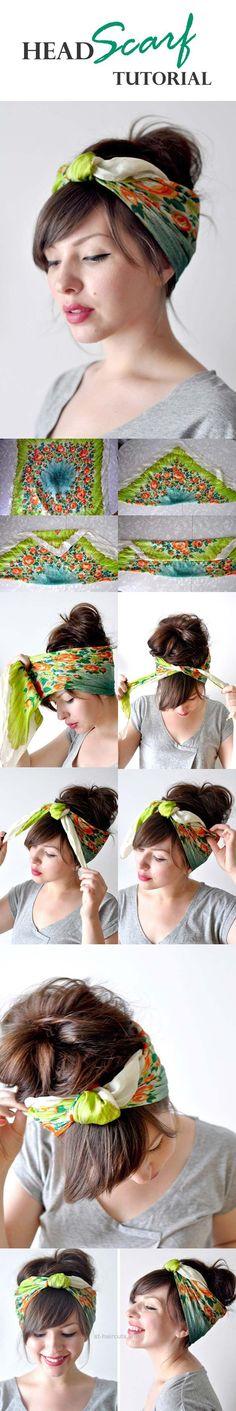 Wonderful Festival Hair Tutorials – HEAD SCARF TUTORIAL – Short Quick and Easy Tutorial Guides and How Tos for Braids, Curly Hair, Long Hair, Medium Hair, and that Perfect Updo .. #diyhairstylesformediumhair