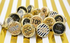 Distinctivs - 100th Birthday Party Decorations Stickers for Hershey Kisses