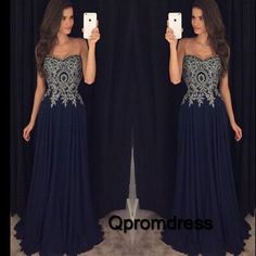 2016 elegant deep blue chiffon sweetheart dress with lace applique top, ball gown, prom dresses long