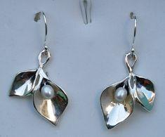 Pearl Silver Earrings Sterling Silver Dangle by TalyaDesign