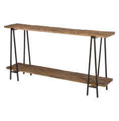 Bartlett Rustic Lodge Wood Metal Rectangle Console Table   Kathy Kuo Home