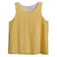 dc3ecf0e8554e Charter Club NEW Sleeveless Lace Tank Top Yellow Back Zipper XL  fashion   clothing