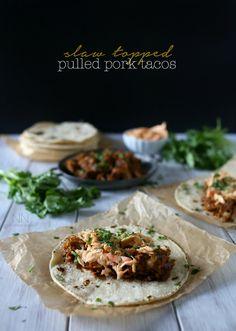 Slaw Topped Pulled Pork Tacos