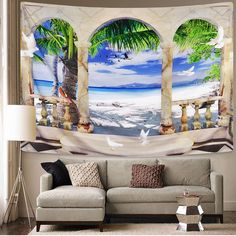 Discover the best beach themed tapestries and coastal wall tapestries. We love beach wall decor and tapestries are affordable and beautiful, which makes them a great option. Hanging Flower Wall, Hanging Art, Ocean Themes, Beach Themes, Ocean Artwork, Black Ink Art, Beach Wall Decor, Tree Wall, Tapestry Wall Hanging