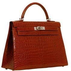 Hermes Kelly Bag 32 Sellier Cognac Crocodile Silver Hardware