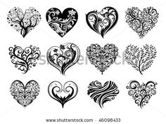 Image detail for -Set Of 12 Tattoo Hearts, Vector Image. - 46098433 : Shutterstock