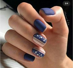 90 Inspirational Blue Nail Art Designs and Ideas Spring 2018 Square Nail Designs, Cute Nail Art Designs, Blue Nail Designs, Short Nail Designs, Dark Blue Nails, Nail Art Blue, Multicolored Nails, Nailed It, Super Nails