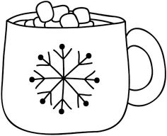 Hot Cocoa Doodle Template 001 – Christmas/Winter - To Have a Nice Day Hot Chocolate Art, Chocolate Mugs, Mug Template, Templates, Chocolate Template, Cookie Drawing, Cool Doodles, Thanksgiving Projects, Snow Fun