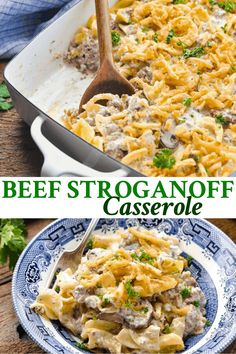 All of the flavors that you love from the traditional dish come together in this cozy and hearty Beef Stroganoff Casserole! A cream of mushroom and sour cream sauce made with ground beef and mushrooms is layered with buttered egg noodles and topped with crispy fried onions. Bake everything in one dish for an easy, satisfying dinner that the whole family can agree on!