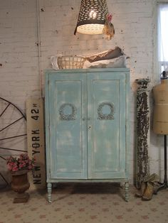 Painted Cottage Chic Shabby Aqua Romantic Armoire shabby chic armoire [AM09] - $325.00 : The Painted Cottage, Vintage Painted Furniture