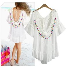 ZJ-PNARL Beach Bohemian Women Dresses Casual Summer Dress Solid Butterfly Sleeve Hollow Out Patchwork Lace Dress