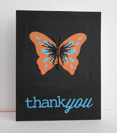 """handmade thank you card from by Chriss Blagrave ... black card base with bright die cuts ... """"thank you"""" and butterfly ... great look!"""