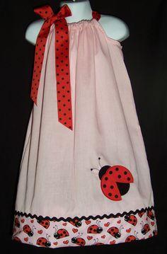 Ladybug Pillowcase Dress / Pink / Red / Birthday / Newborn /