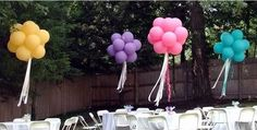 Love the ribbons flowing Non Floral Centerpieces, Balloon Centerpieces, Centerpiece Ideas, Balloon Decorations, Birthday Decorations, Balloon Topiary, Diy Party, Party Ideas, Balloon Clusters