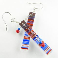 Patriotic Red White Blue Glass Earrings in Sterling Silver by Beadbijoux