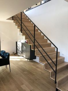 stairs from m Solid oak stairs French. Tatjana Heydebreck tatjanasunshine My House Solid oak stairs French. Staircase Handrail, Stair Railing Design, Oak Stairs, Home Stairs Design, Interior Stairs, House Stairs, House Design, Living Room Lighting Design, Model House Plan