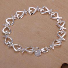 925 Silver Plated All Kelp Bracelet Metal Buckle Chain Bracelet
