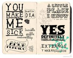 hand drawn typography in a moleskin