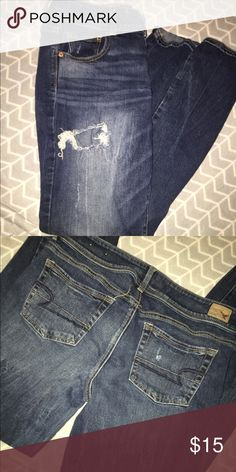American Eagle Jeans Dark wash, kick boot, size 10, worn a couple times. Perfect condition American Eagle Outfitters Jeans