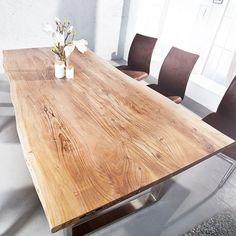 Als besonderes Highlight wurden die Kanten des Tisches so bearbeitet, dass der ursprüngliche Charakter und natürliche Eindruck einer Scheibe eines riesigen Akazienbaumes entsteht. Als hätte man einen großen Baum genau in der Mitte durchgesägt, um die Oberplatte daraus zu fertigen! | eBay!