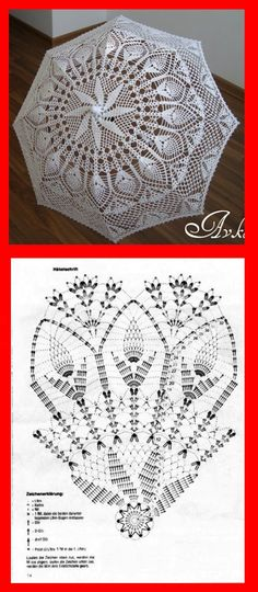 Upcycle grandma's old doily end table cloths into a summer parasol! Crochet Doily Patterns, Crochet Borders, Crochet Chart, Filet Crochet, Crochet Motif, Crochet Doilies, Crochet Flowers, Crochet Lace, Crochet Stitches