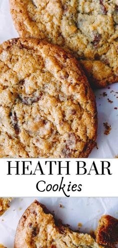 Easy heath bar cookie recipe right here! THE BEST cookies with toffee bits and chocolate rolled into a brown sugar cookie for a chewy and amazing flavor! Families holidays kids friends- everyone will love these! - Chewy Candy - Ideas of Chewy Candy Toffee Cookie Recipe, Toffee Cookies, Best Cookie Recipes, Good Healthy Recipes, Baking Recipes, Toffee Bits Recipe, Healthy Food, Toffee Bars, Healthy Eating