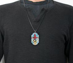 Stain Glass Jesus Necklace $50.00 #woodjewelry #acrylicnecklace #goodwoodnyc