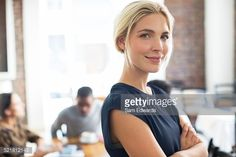 Stock Photo : Woman smiling in cafe