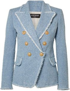 Balmain - Double-breasted Cotton-blend Bouclé-tweed Blazer - Light blue