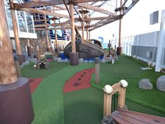 Located underneath part of the ropes course on Norwegian Getaway is a nine-hole miniature golf course.