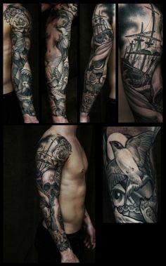 tattoo The Bird Sleeve   tatuajes | Spanish tatuajes  |tatuajes para mujeres | tatuajes para hombres  | diseños de tatuajes http://amzn.to/28PQlav