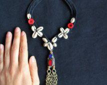 collar concha etnico boho tribal nomada cascabel gargantilla necklace kuchi afghan vintage gypsy belly dance bohemian india banjara