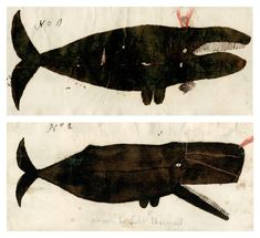 Captain Valentine Barnard's depiction of a right (or perhaps a bowhead) whale (top) and of a sperm whale (bottom), ca. Courtesy the Collection of the New-York Historical Society. via Cabinet Magazine Illustrations, Illustration Art, Whale Art, Art Brut, Naive Art, Outsider Art, Fauna, Our Lady, Sea Creatures