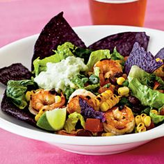 Southwestern-Style Shrimp Taco Salad by Cooking Light. Cilantro, chipotle hot sauce, corn, black beans, and green onion lend fantastic south-of-the-border flavor to this shrimp-topped taco salad. Shrimp Tacos, Shrimp Taco Salad Recipe, Taco Salad Recipes, Shrimp Salad, Seafood Salad, Grilled Shrimp, Sauteed Shrimp, Crab Salad, Spicy Shrimp