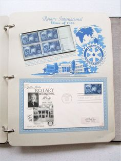 Postage Stamps Book 37 pgs 1953-56 First Day Issue Stamps Stationery Rotary Inte