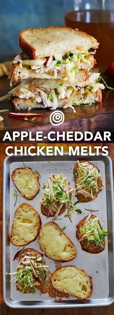 Fondants à la pomme, au cheddar et au poulet Apple, Cheddar & Chicken Melts Recipe. Add this to the top of your fall recipes and ideas list! This wonderful sheet pan meal is an easy way to serve up new autumn comfort foods for dinner – for a crowd even. Chicken Melt Recipe, Queso Cheddar, Cooking Recipes, Healthy Recipes, Pie Recipes, Recipies, Potato Recipes, Vegetable Recipes, Delicious Sandwiches
