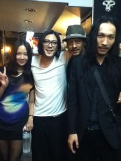 (l-r) Shaoh Shih and DJ Code of the electro band Red, myself and DJ Island X