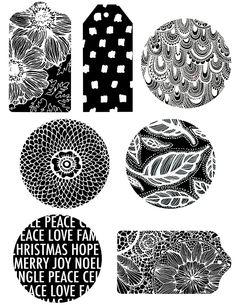 Free Printable → Black and White Christmas Gift Tags Homemade Christmas Gifts, Christmas Tag, White Christmas, Gift Tags Printable, Printable Paper, Alisa Burke, Free Prints, Diy Scrapbook, Christmas Printables