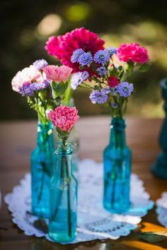 Image result for como fazer arranjos flores azul e rosa