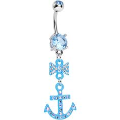 Aqua Gem Bow Topped Light Blue Anchor Dangle Belly Ring | Body Candy Body Jewelry #bodycandy #piercings #bellyring