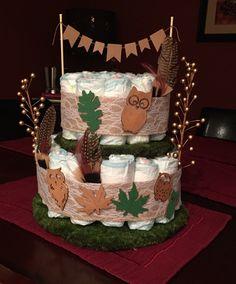 Woodland themed diaper cake.