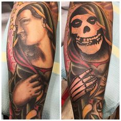 Mother Mary To Misfits by @russabbott at @inkanddaggertattoo in Roswell Georgia. #coverup #misfits #mothermary #crimsonghost #russabbott #inkanddagger #inkanddaggertattoo #roswell #georgia #tattoo #tattoos #tattoosnob