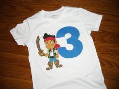 Toddler Boys Girls 3rd Third Birthday Jake Izzy Cubby Inspired Pirate Neverland 3 Shirt