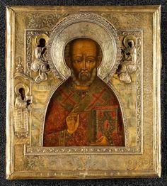 Saint Nicolas icône russe, Moscou, XIXème siècle tempera à l'oeuf sur bois, oklad en argent repoussé, ciselé et gravé 32,8 cm x 29,5 cm - ARTEMISIA auctions - 17/06/2015